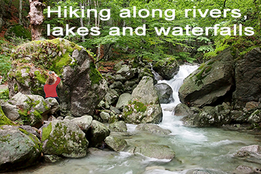 Hiking along rivers, lakes and waterfalls